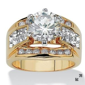 14k GOLD PLATED CZ RING, 3.46 CARATS T.W.